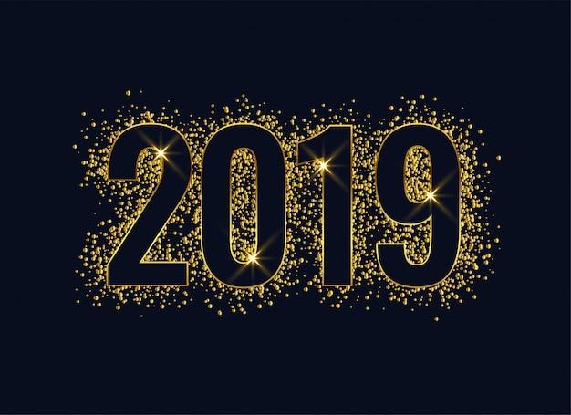 Fundo de ano novo dourado brilhante de 2019