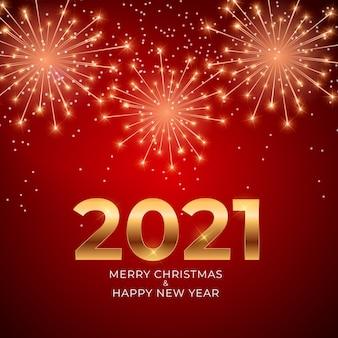 Fundo de ano novo e feliz natal de 2021 com fogos de artifício brilhantes