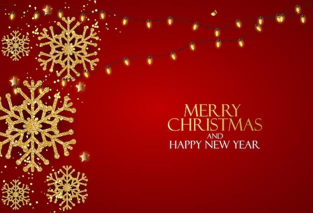 Fundo de ano novo e feliz natal de férias com árvore de natal realista. ilustração vetorial