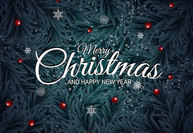 Fundo de ano novo e feliz natal de férias com árvore de natal realista.