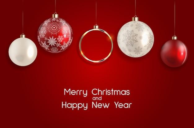 Fundo de ano novo e feliz natal de férias. Vetor Premium