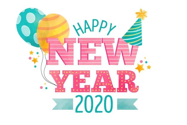 Fundo de ano novo em aquarela 2020
