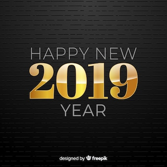 Fundo de ano novo número dourado