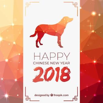Fundo de ano novo poligonal chinês brilhante