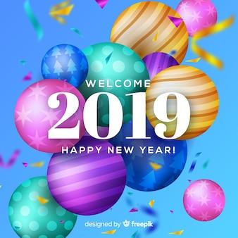 Fundo de ano novo realista de 2019