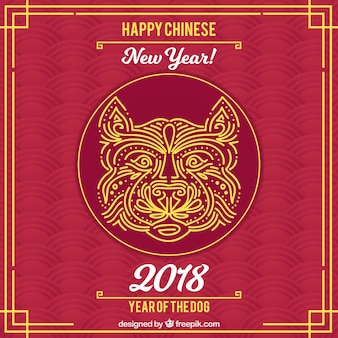Fundo de ano novo vermelho-vermelho escuro com cara de cachorro