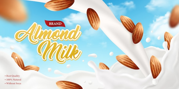 Fundo de anúncio de cartaz de leite amêndoa realista com texto de marca ornamentado e composição da ilustração de imagens do céu e nozes