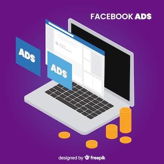 Fundo de anúncios de facebook de laptop