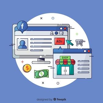 Fundo de anúncios do facebook de mão desenhada