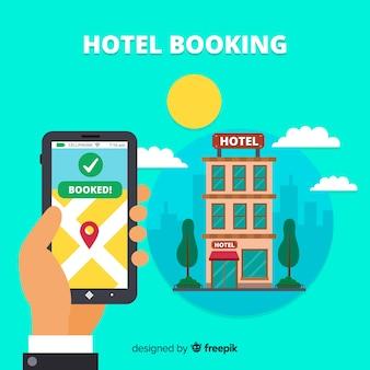 Fundo de aplicativo de reserva de hotel plana