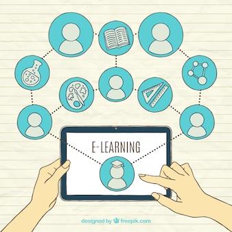 Fundo de aprendizagem on-line com o tablet e os elementos ligados