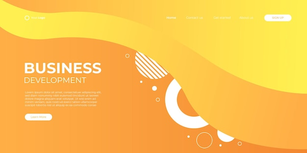 Fundo de apresentação abstrato moderno 3d. fundo minimalista elegante. decoração abstrata, geométrica, meio-tom, gradientes, ilustração em vetor 3d. fundo amarelo laranja