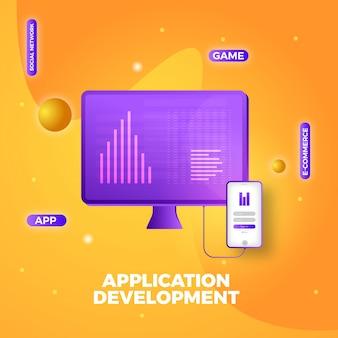 Fundo de apresentação de desenvolvimento de aplicativo