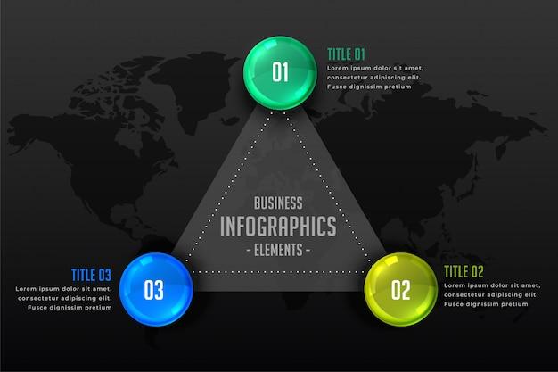 Fundo de apresentação infográfico escuro de três etapas
