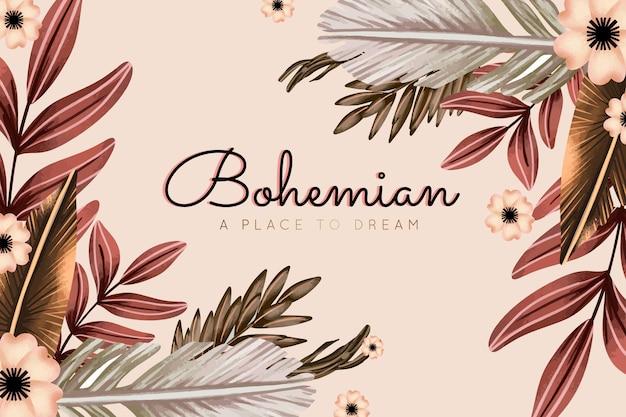 Fundo de aquarela boho com flores e folhas
