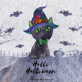 Fundo de aquarela com gatinho e chapéu de bruxa