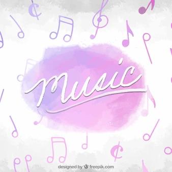 Fundo de aquarela com notas musicais