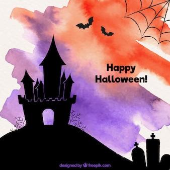 Fundo de aquarela de halloween com castelo