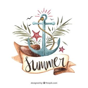 Fundo de aquarela de verão com âncora e folhas de palmeira