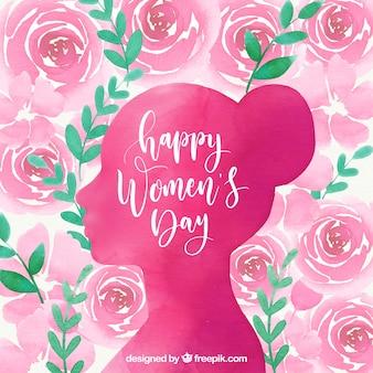 Fundo de aquarela do dia das mulheres com rosas