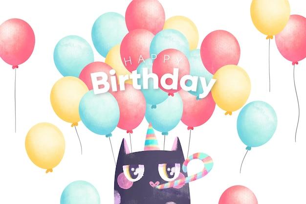 Fundo de aquarela feliz aniversário e gato de festa
