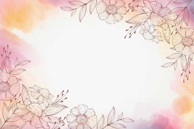 Fundo de aquarela floral desenhado à mão
