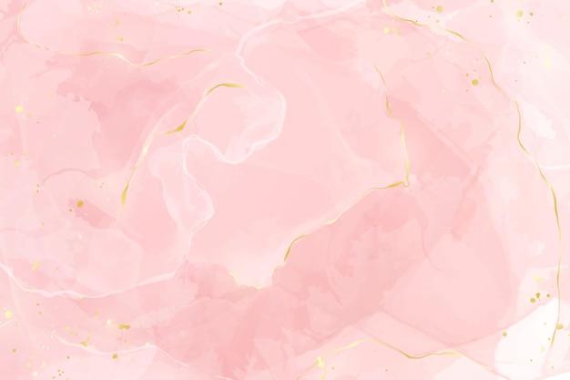Fundo de aquarela líquido rosa blush abstrato com linhas douradas, pontos e manchas