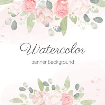 Fundo de arranjo de buquê de flores em aquarela rosa pastel