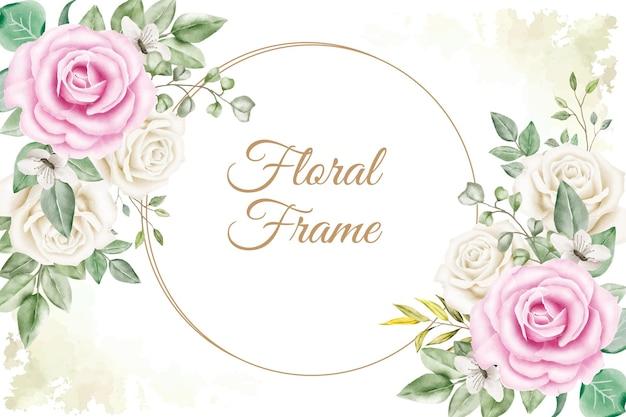 Fundo de arranjo de moldura floral com decoração de folhas e flores em aquarela