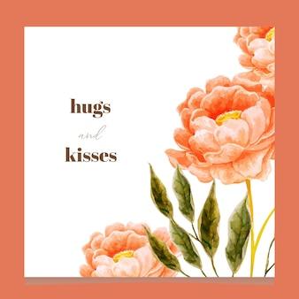 Fundo de arranjo floral em aquarela para cartão, cartão, calendário, banner, papel de parede