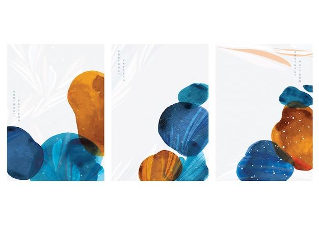 Fundo de arte abstrata com elementos de mancha de aquarela. decoração de textura de pincel de pintura com design de cartaz de arte acrílica.