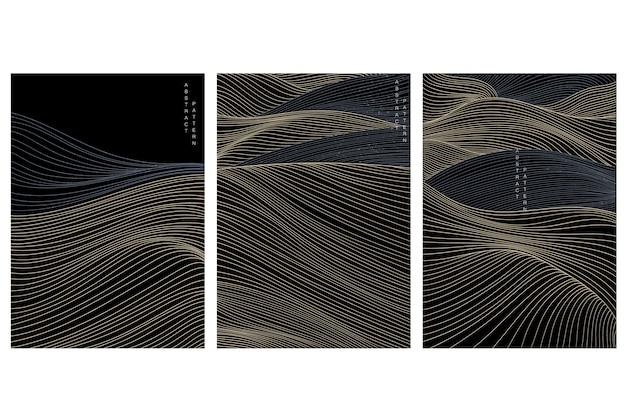 Fundo de arte abstrata com padrão de onda japonês