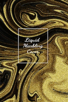 Fundo de arte abstrata de mármore de ouro escuro líquido com textura de linha de ouro.