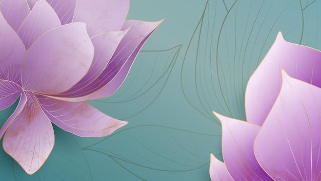 Fundo de arte com flores de lótus roxas com elementos dourados para decoração de embalagens e papel de parede de mídia social.