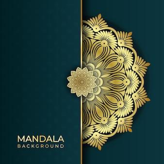 Fundo de arte de mandala islâmica abstrata de luxo com efeitos de cor dourada