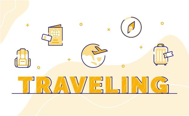 Fundo de arte de palavra de tipografia de viagem