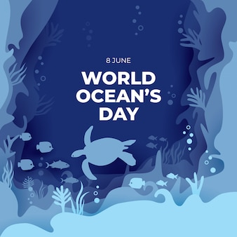 Fundo de arte de papel do dia do oceano mundial