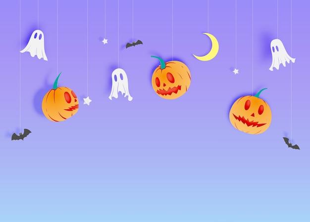 Fundo de arte de papel feliz dia das bruxas com ilustração vetorial de fantasma