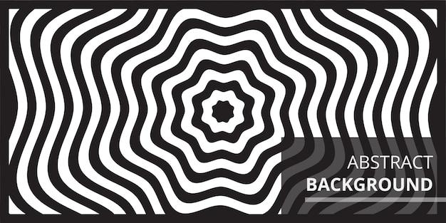Fundo de arte óptica de onda preto e branco