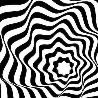 Fundo de arte óptica preto e branco.