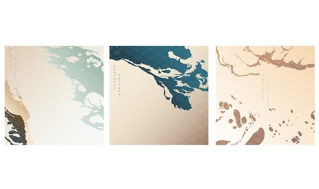 Fundo de artes abstratas com padrão japonês. modelo geométrico com elementos de pincel acrílico de arte.