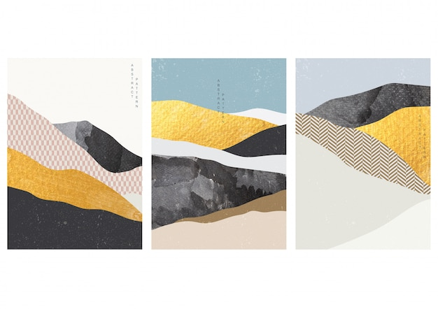 Fundo de artes abstratas com padrão japonês. paisagem da arte com modelo geométrico ilustração do elemento de pincelada de ouro. textura aquarela.