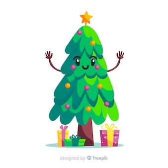 Fundo de árvore de natal bonito no design plano