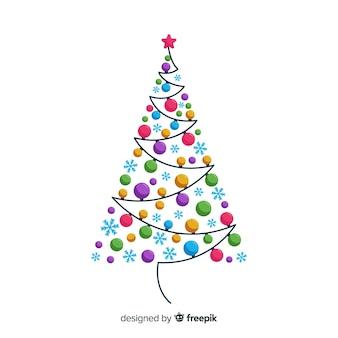 Fundo de árvore de natal de bolas coloridas