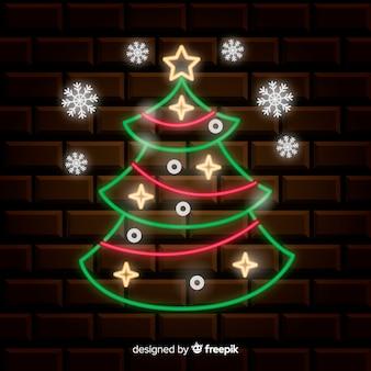 Fundo de árvore de natal de néon