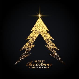 Fundo de árvore de natal feliz dourado brilhante