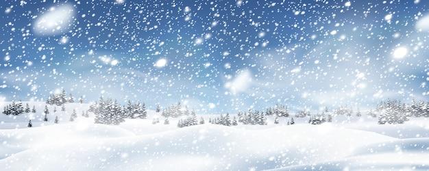 Fundo de árvores de inverno com queda de neve