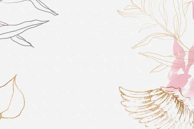Fundo de asa de anjo, vetor de borda estética