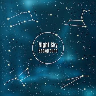 Fundo de astronomia com estrelas e constelações