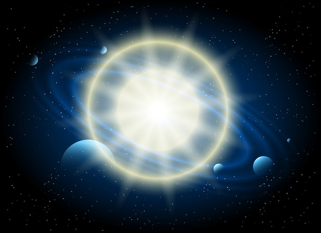 Fundo de astronomia estrela e planeta